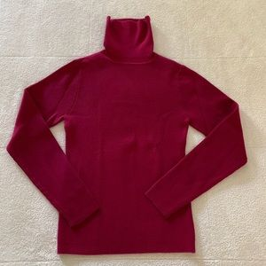 Old Navy Red Ribbed Cotton Turtleneck Sweater M
